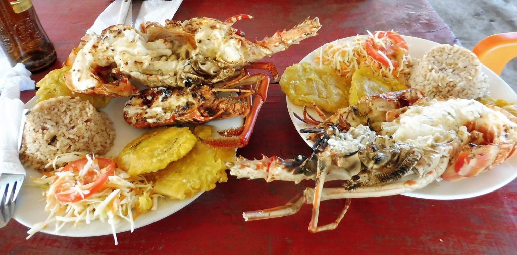 Lobsters main menu in mucura island into the San Bernardo islands