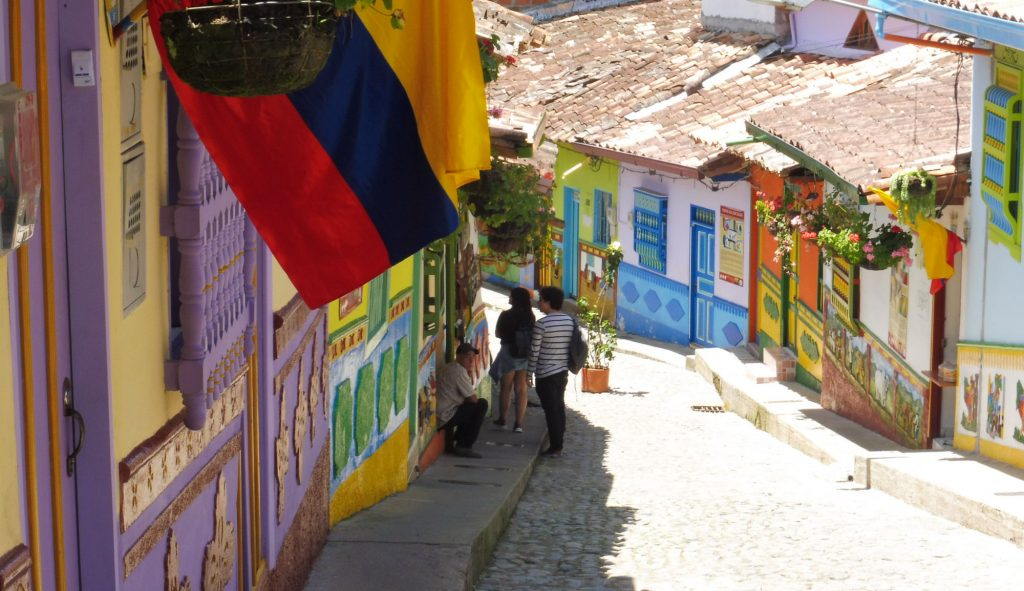 beautiful street in guatape near el penol arount medellin