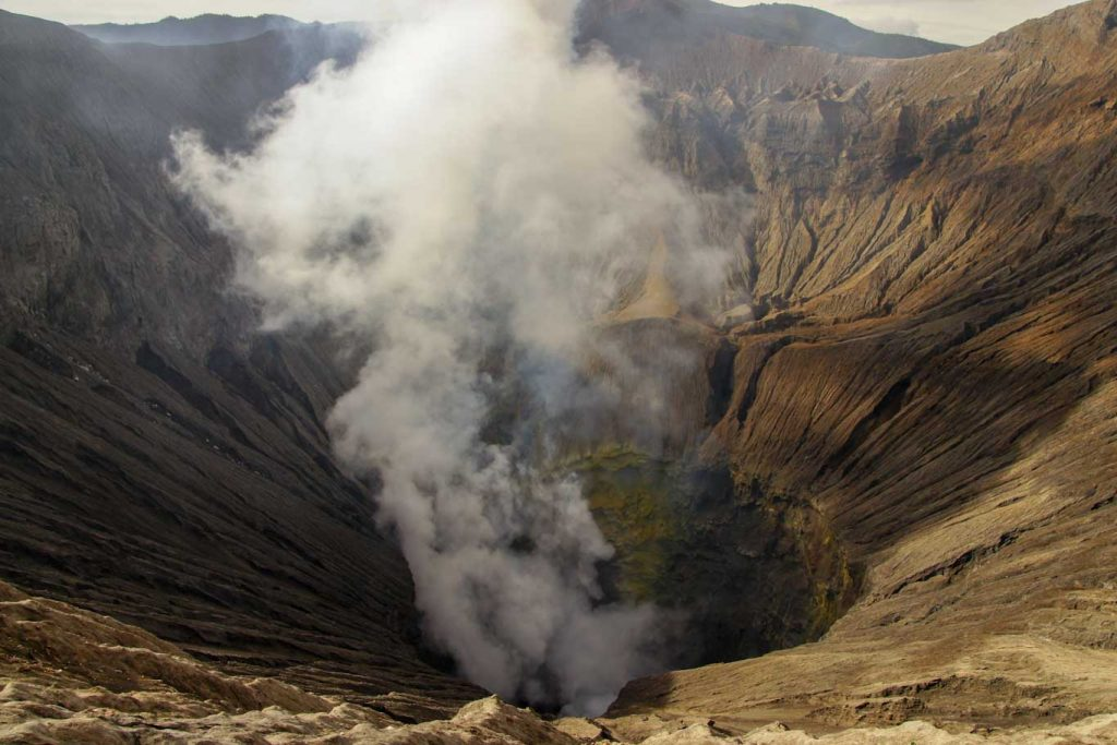 Ascent of Bromo Volcano into the crater