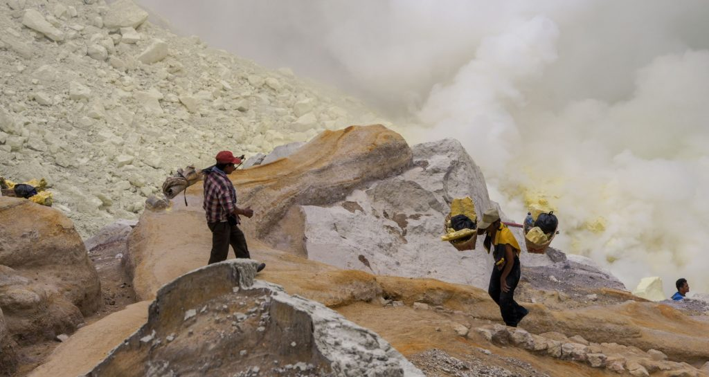 Into the crater of Ijen Kawah volcano