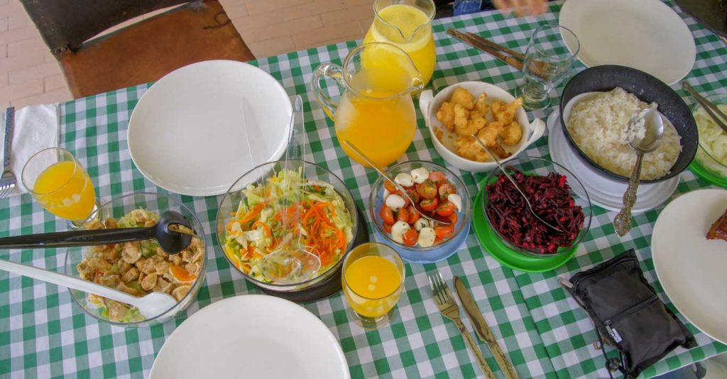 In the coffee region of Colombia lunch in the coffee finca