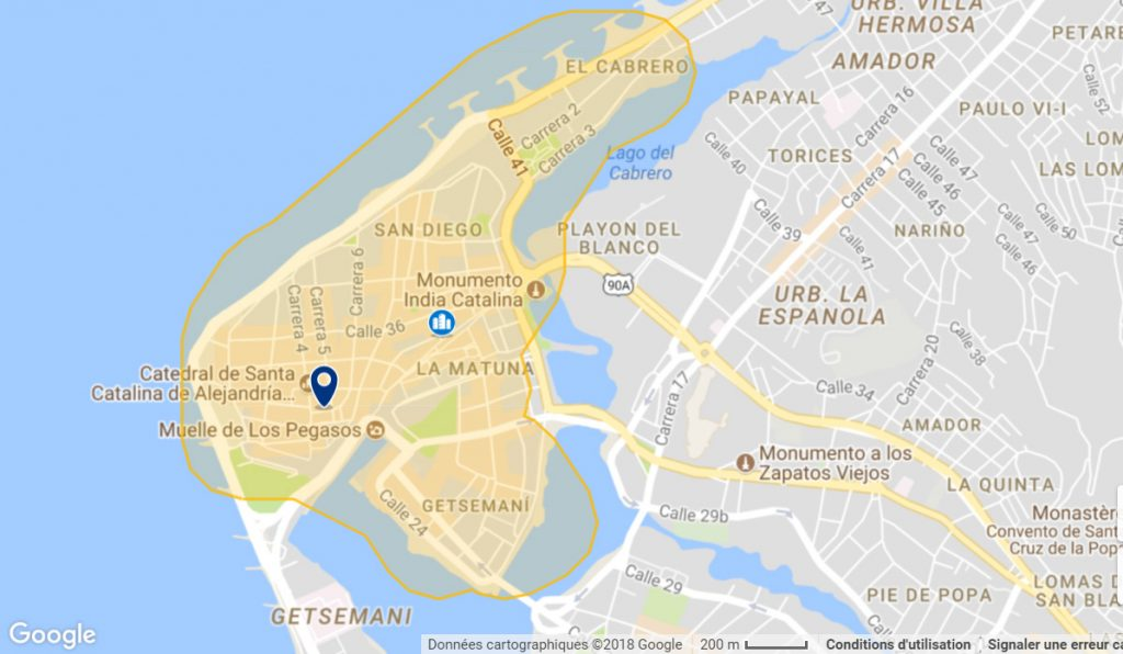 BEST NEIGHBORHOOD IN CARTAGENA FOR TOURISTS MAP