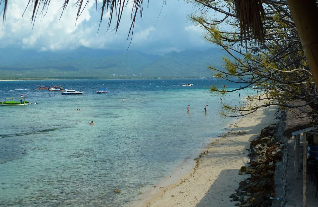 Cheap hotel on Gili Air island in front of beach