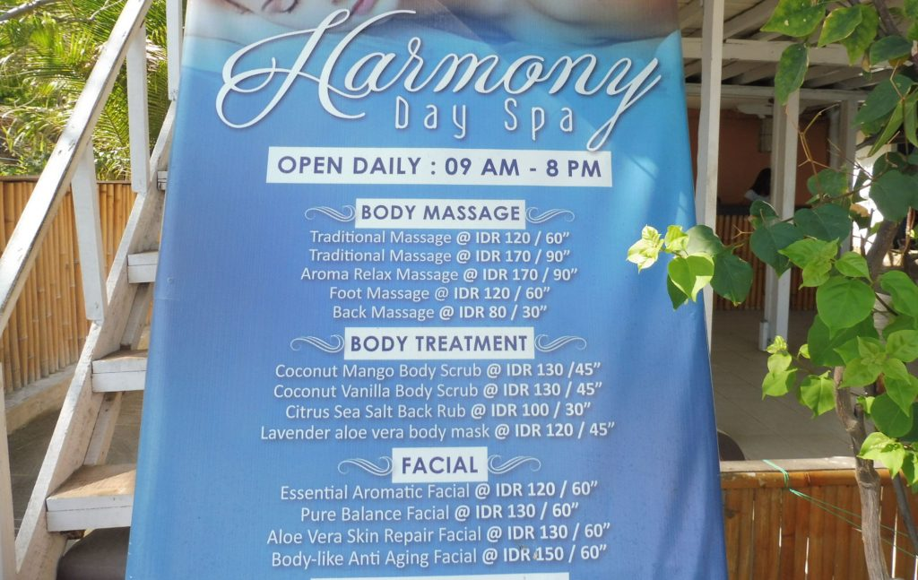 What to do in Gili Air Island you can do a massage