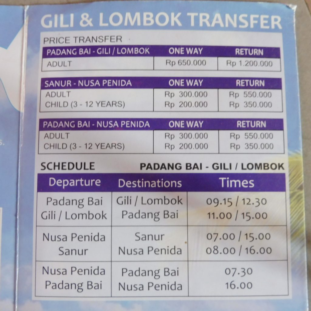 4 days in Gili Air, how to get to Gili Air and what to do in Gili Air PRICE FERRIES