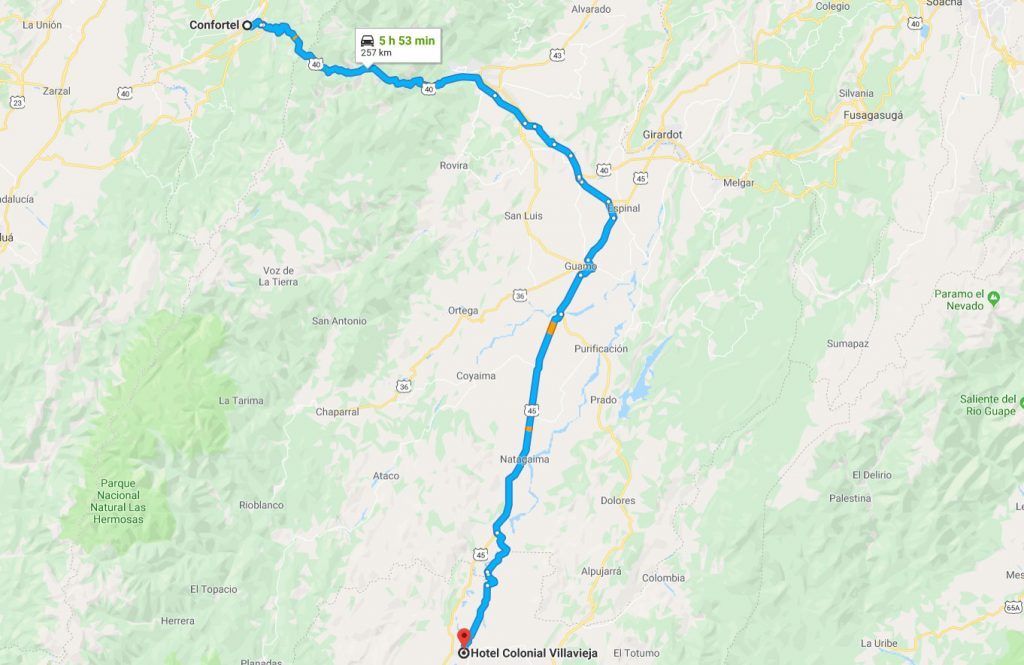 How to go from tatacoa desert to coffee area in Colombia my map