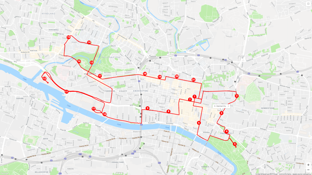 Tourist Bus Route Map for my city tour of Glasgow in 1 day