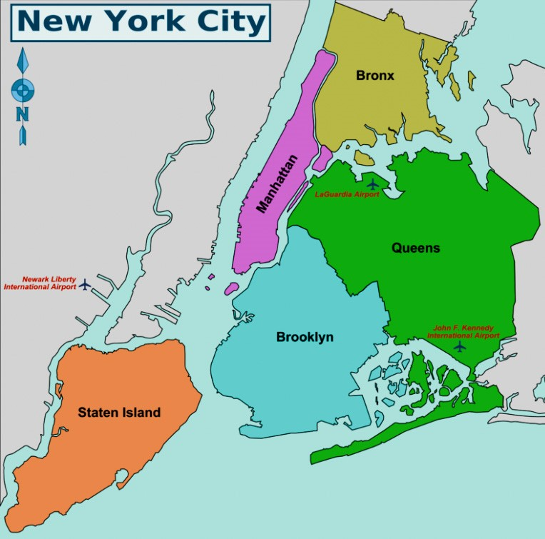 New York Neighborhoods - The 5 New York Boroughs and the district map