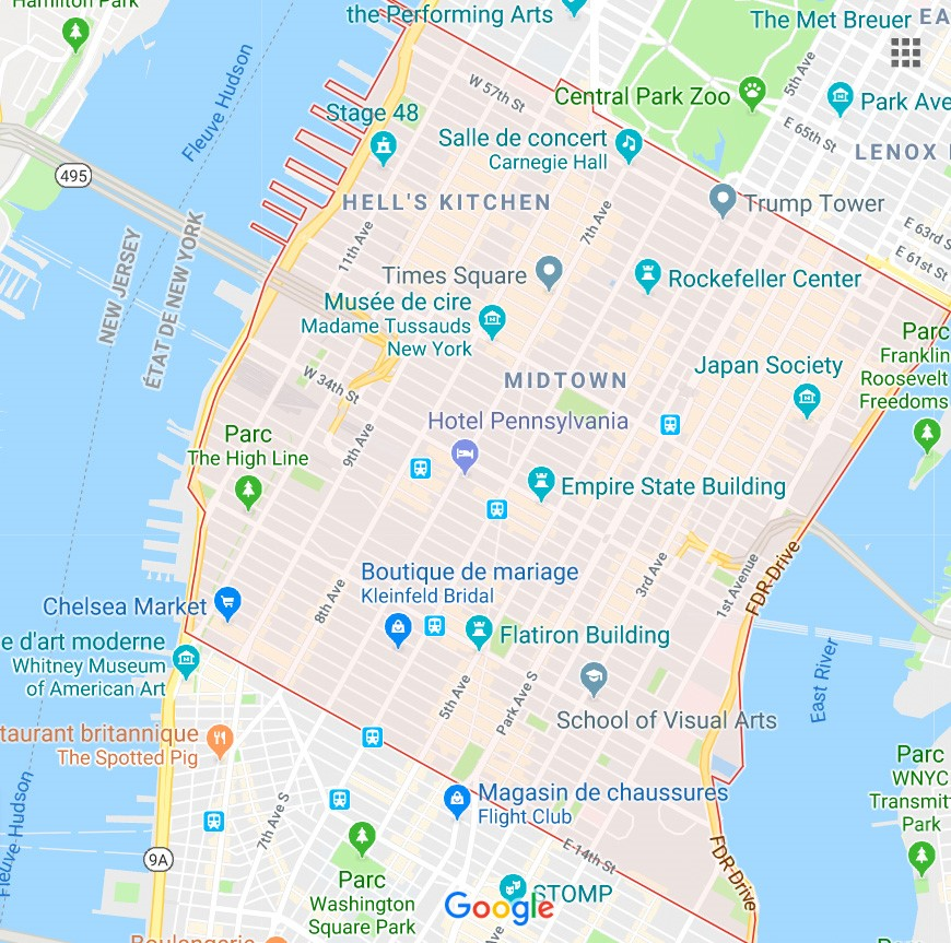 MIDTOWN in Best Manhattan neighborhoods map