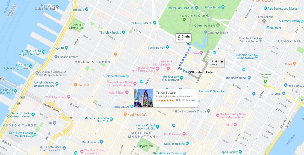 Best cheap hotel accepting dogs in New York in Manhattan Map